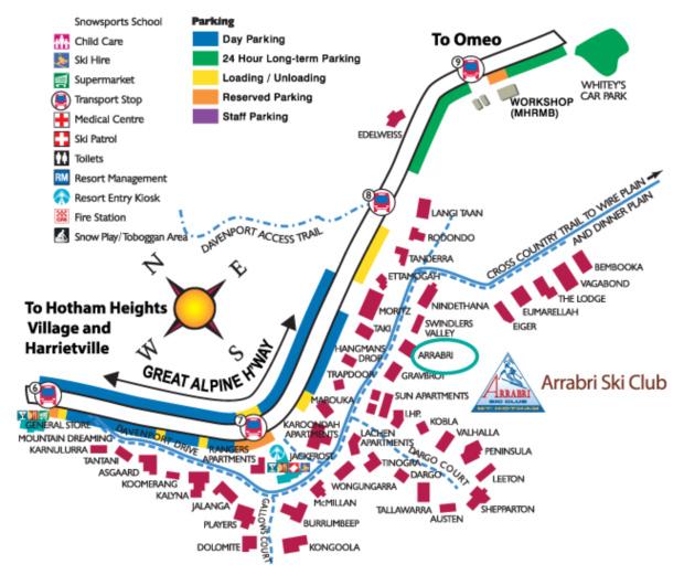 location of arrabri ski club hotham