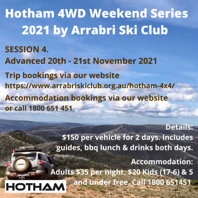 Arrabri Ski Club 4WD Weekends Session 4 November 2021